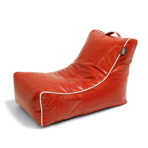 Oblique view of the red moto coastal lounge bean bag