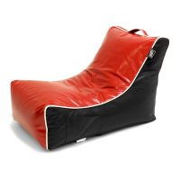 Oblique view of the red and black moto bean bag lounge chair