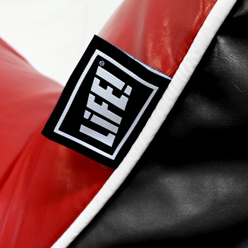 Close up of the trim on the red and black loft moto bean filled bean bag lounge chair