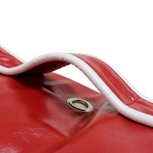Close up of handle and trim on the red loft moto bean filled bean bag lounge seat