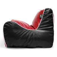 Side view of the red and black loft moto bean bag lounge seat