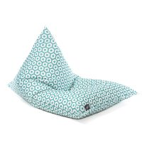 The mint green and white geometric print, sunny boy shaped bean bag shown from an oblique angle.