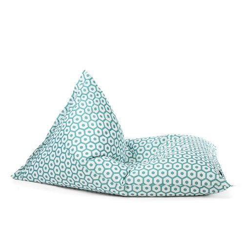 The green and white geometric print, sunny boy shaped bean bag shown from the side.