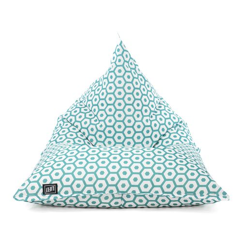 The mint green and white geometric print, sunny boy shaped beanbag shown from the front.