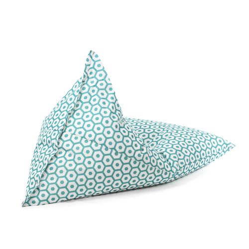 The mint green and white geometric print sunny boy shaped bean bag shown from the back.