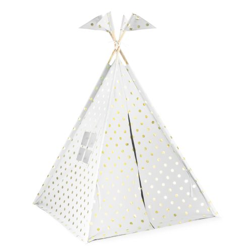 A kids indoor teepee play tent with window, door and four flags on the corner posts. Made from a white fabric with gold coin dot print