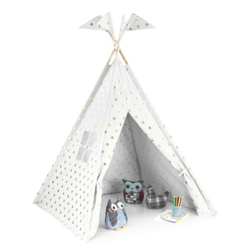 Play tent teepee with a window and flags. The door is open and whilst toys play. The tent is white with gold spots or dots