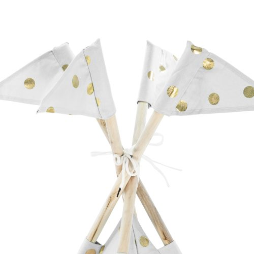 Four teepee tent posts adorned with flags in the white based gold coin print fabric