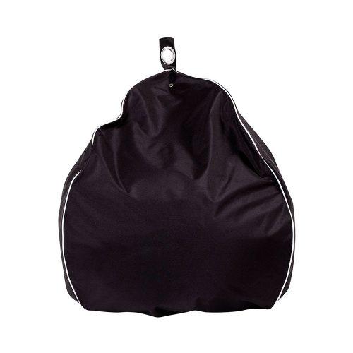 Black tear drop shaped patio bean bag with white trim