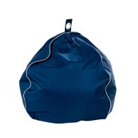 Classic navy blue patio bean bag with white trim