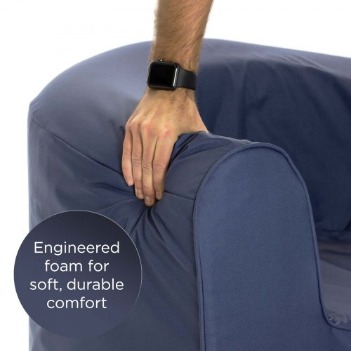 Close up of the engineered foam for soft, durable comfort on the crown blue, solid foam, pop armchair seat