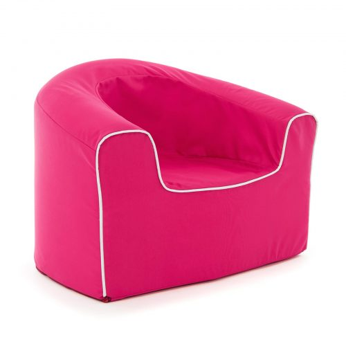 oblique view of the rasberry pink, solid foam pop lounge armchair for children