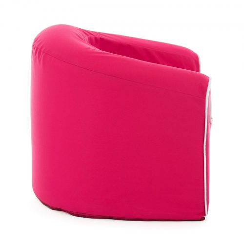 side view of the solid foam, rasberry pink pop arm chair for kids