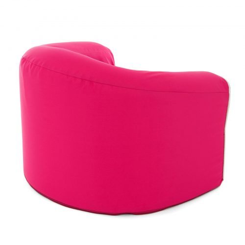 Back view of the rasberry pink kids solid foam pop armchair