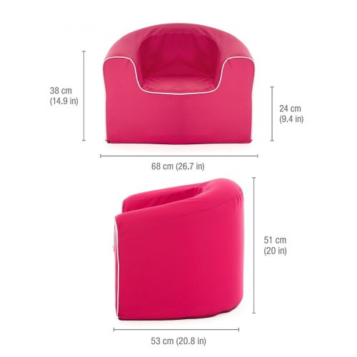Dimensions of the rasberry pink children's pop foam seating armchair - 53 x 68 cm base, seat height is 24cm and armchair back is 51cm high