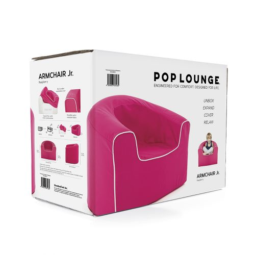 box pacakaging for a pop lounge solid foam kids armchair in rasberry pink - unbox, expand, cover and relax