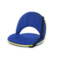 Blue padded portable cushion recliner chair with yellow trim and carry handle for easy transport