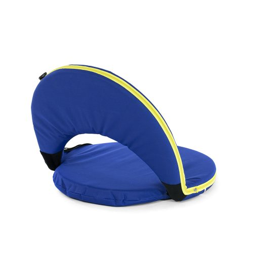 Blue cushion recliner chair with yellow trim, for portable seating,