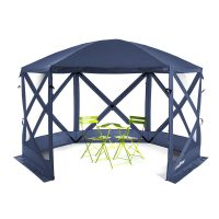 Navy blue flexion pop up shelter with mesh panels and canopy for sun shade