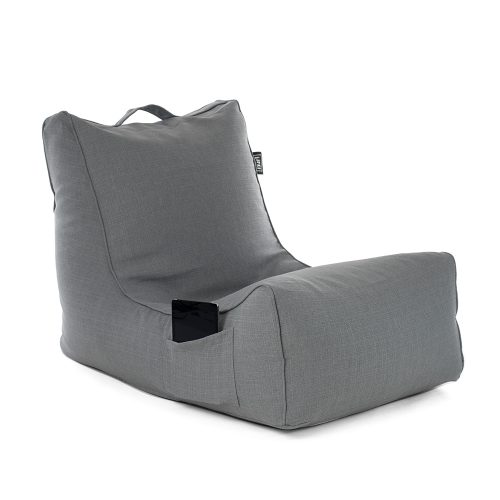 Grey linen coastal lounger bean bag with storage pocket and carry handle