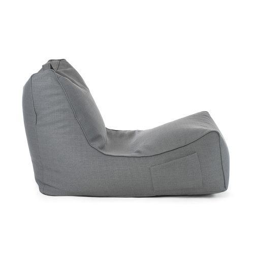Side view of the grey linen coastal lounge bean bag with a storage pocket and carry handle.