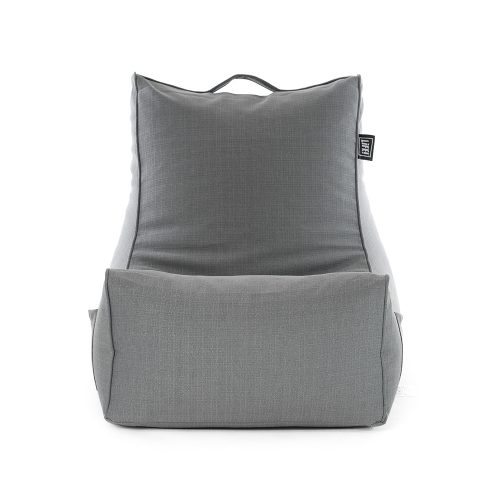 Grey linen coastal lounge bean bag chair with a square form that mimics a couch seat