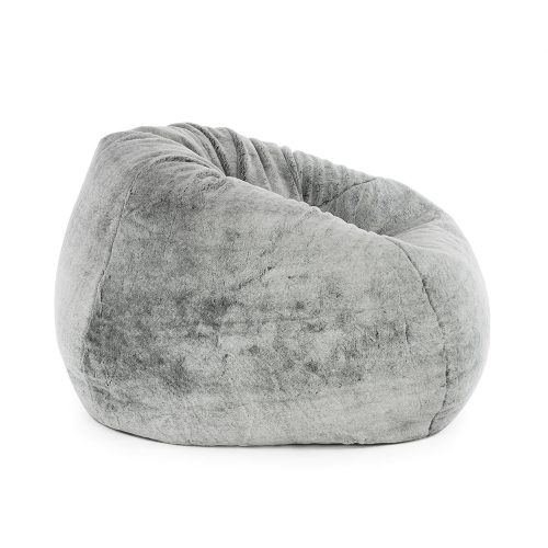 Side view of the grey faux fur adult sized teardrop bean bag seat