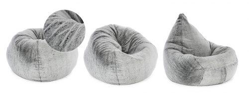 Soft and squishy grey faux fur tear drop adult sized bean bag seat