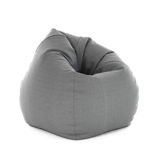 Classic teardrop shaped bean bag in grey linen material