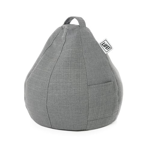Grey linen look iCrib tablet bean bag for your iPad or mobile device with a handy storage pocket for your smart phone