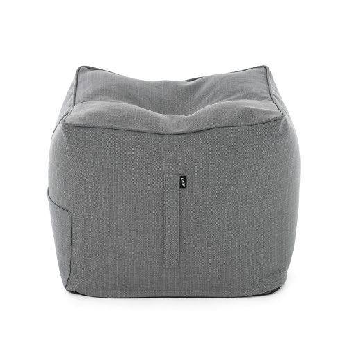 A square grey linen bean bag ottoman that can be used as a chair, table or footrest