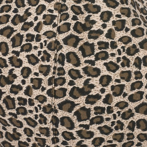 Close up of the brown leopard print material used in the iCrib bean bag