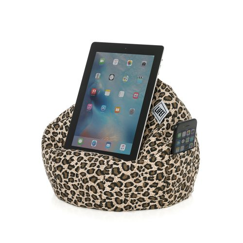 Brown leopard print iCrib bean bag holding a tablet or iPad for handsfree use with a smart phone or iPhone in the storage pocket