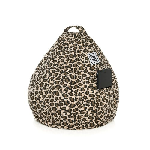 Brown leopard print iCrib bean bag with a mobile phone, smart phone or iPhone in the storage pocket