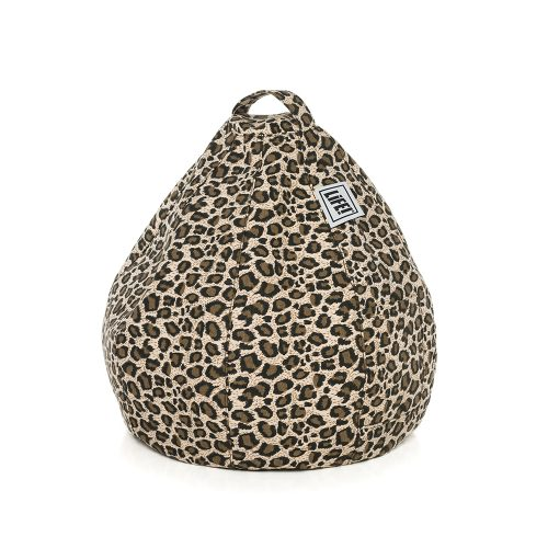 Brown leopard print iCrib bean bag showing the cushion shape and carry handle