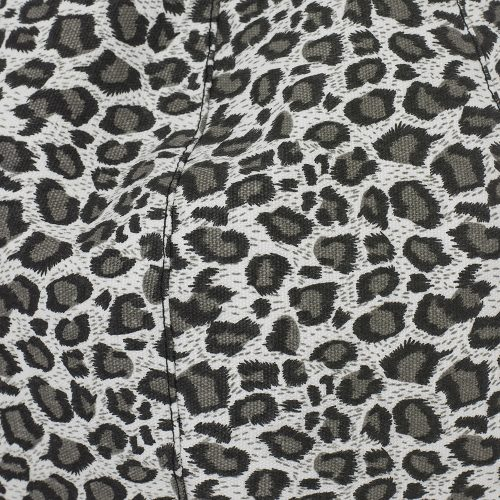 Close up of the grey leopard print used in the iCrib tablet bean bag