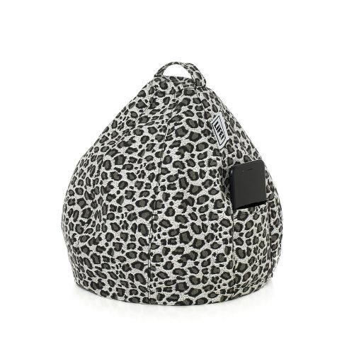 Grey leopard print iCrib bean bag with storage pocket for you mobile phone whilst you use your tablet or iPad hands free