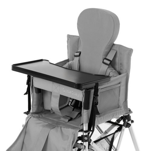 Silver baby high chair with straps and pockets and basket