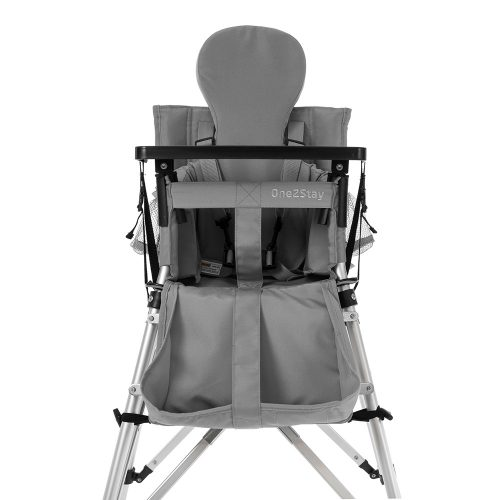 Silver baby high chair with insert cushion and pockets and basket and straps and tray