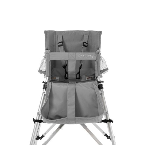 Silver baby high chair with straps and pockets