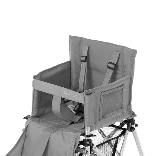 Silver baby high chair with staps and pockets