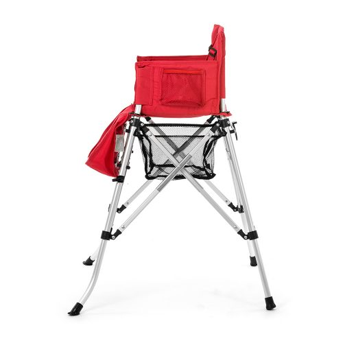 Red baby high chair with basket and pockets