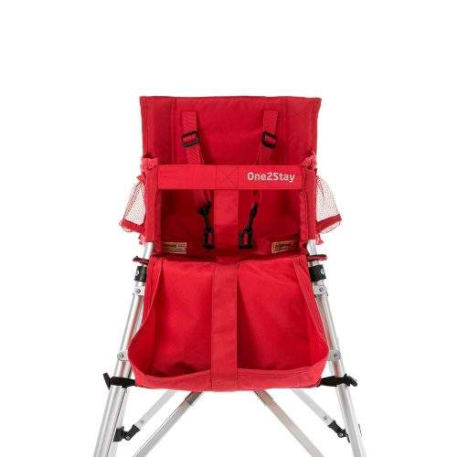 Red baby high chair with straps and pockets
