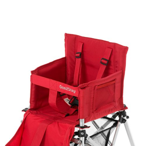 Red baby high chair with straps and pockets and basket