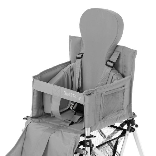 Silver baby high chair with insert cushion and pockets and basket and straps