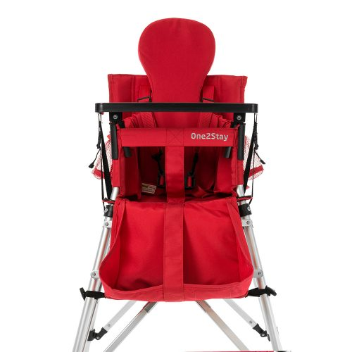 Red baby high chair with insert and pockets and basket and straps and tray