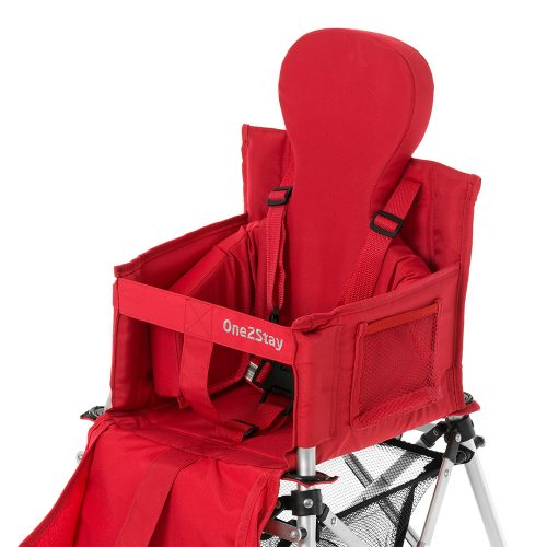 Red baby high chair with insert and pockets and basket and straps
