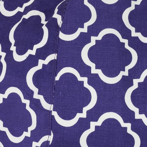 Close up of the purple and white geometric pattern used on the iCrib iPhone, smart phone, portable device, tablet bean bag cushion