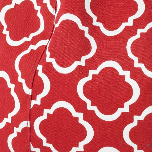 Close up of the white geometric print on red used in the iCrib iPad bean bag caddy