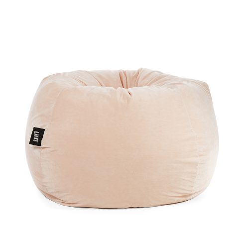Soft and fuzzy pale pink blush colored velour adult sized teardrop bean bag chair.